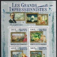 Sellos: COMORES 2009 IVERT 1763/66 *** ARTE - PINTURA - CUADROS DE COLIN CAMPBELL COOPER. Lote 113685403