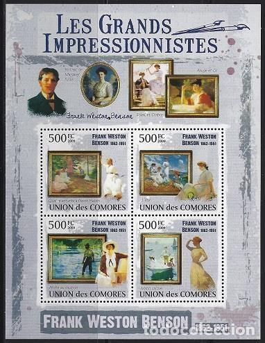 COMORES 2009 IVERT 1767/70 *** ARTE - PINTURA - CUADROS DE FRANK WESTON BENSON (Sellos - Temáticas - Arte)