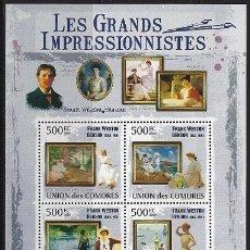 Sellos: COMORES 2009 IVERT 1767/70 *** ARTE - PINTURA - CUADROS DE FRANK WESTON BENSON. Lote 113685635