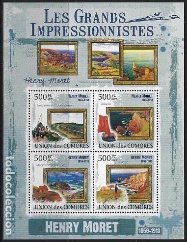 COMORES 2009 IVERT 1771/74 *** ARTE - PINTURA - CUADROS DE HENRY MORET (Sellos - Temáticas - Arte)