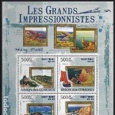 Sellos: COMORES 2009 IVERT 1771/74 *** ARTE - PINTURA - CUADROS DE HENRY MORET. Lote 113685703