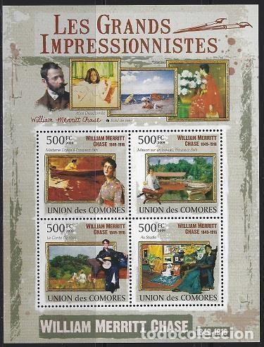COMORES 2009 IVERT 1783/86 *** ARTE - PINTURA - CUADROS DE WILLIAM MERRITT CHASE (Sellos - Temáticas - Arte)