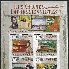 Sellos: COMORES 2009 IVERT 1783/86 *** ARTE - PINTURA - CUADROS DE WILLIAM MERRITT CHASE. Lote 113685907