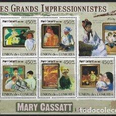 Sellos: COMORES 2009 IVERT 1791/95 *** ARTE - PINTURA - CUADROS DE MARY CASSATT. Lote 113686219