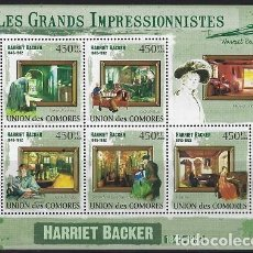 Sellos: COMORES 2009 IVERT 1796/800 *** ARTE - PINTURA - CUADROS DE HARRIET BACKER. Lote 113686319