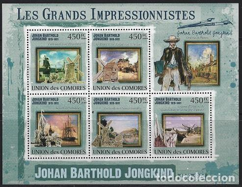 COMORES 2009 IVERT 1806/10 *** ARTE - PINTURA - CUADROS DE JOHAN BARTHOLD JONGKIND (Sellos - Temáticas - Arte)