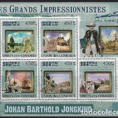 Sellos: COMORES 2009 IVERT 1806/10 *** ARTE - PINTURA - CUADROS DE JOHAN BARTHOLD JONGKIND. Lote 113686727