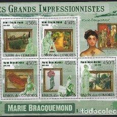 Sellos: COMORES 2009 IVERT 1811/15 *** ARTE - PINTURA - CUADROS DE MARIE BRACQUEMOND. Lote 113686835