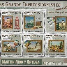 Sellos: COMORES 2009 IVERT 1816/20 *** ARTE - PINTURA - CUADROS DE MARTIN RICO Y ORTEGA. Lote 113686923