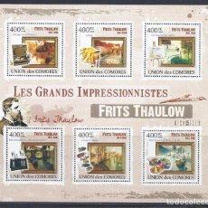 Sellos: COMORES 2009 IVERT 1826/31 *** ARTE - PINTURA - CUADROS DE FRITS THAULOW. Lote 113687219