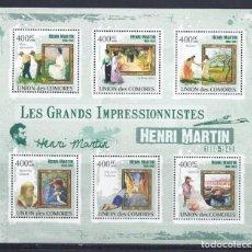 Sellos: COMORES 2009 IVERT 1832/37 *** ARTE - PINTURA - CUADROS DE HENRI MARTIN. Lote 113687447