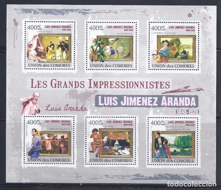COMORES 2009 IVERT 1850/55 *** ARTE - PINTURA - CUADROS DE LUIS JIMENEZ ARANDA (Sellos - Temáticas - Arte)