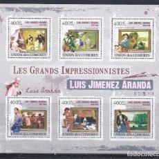Sellos: COMORES 2009 IVERT 1850/55 *** ARTE - PINTURA - CUADROS DE LUIS JIMENEZ ARANDA. Lote 113687595