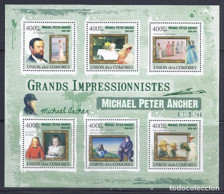 COMORES 2009 IVERT 1856/60 *** ARTE - PINTURA - CUADROS DE MICHAEL PETER ANCHER (Sellos - Temáticas - Arte)