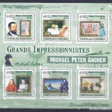 Sellos: COMORES 2009 IVERT 1856/60 *** ARTE - PINTURA - CUADROS DE MICHAEL PETER ANCHER. Lote 113687655