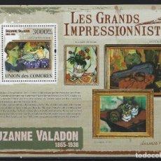 Sellos: COMORES 2009 HB IVERT 217 *** ARTE - PINTURA - CUADROS DE SUZANNE VALADON. Lote 113693871