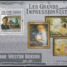 Sellos: COMORES 2009 HB IVERT 221 *** ARTE - PINTURA - CUADROS DE FRANK WESTON BENSON. Lote 113694711