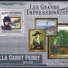 Sellos: COMORES 2009 HB IVERT 223 *** ARTE - PINTURA - CUADROS DE LILLA CABOT PERRY. Lote 113694939