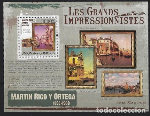 COMORES 2009 HB IVERT 232 *** ARTE - PINTURA - CUADROS DE MARTIN RICO Y ORTEGA (Sellos - Temáticas - Arte)