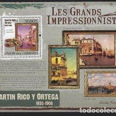 Sellos: COMORES 2009 HB IVERT 232 *** ARTE - PINTURA - CUADROS DE MARTIN RICO Y ORTEGA. Lote 113696207