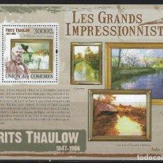 Sellos: COMORES 2009 HB IVERT 234 *** ARTE - PINTURA - CUADROS DE FRITS THAULOW. Lote 113696491