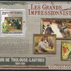 Sellos: COMORES 2009 HB IVERT 236 *** ARTE - PINTURA - CUADROS DE HENRI DE TOULOUSE LAUTREC. Lote 113696759