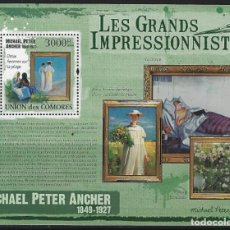Sellos: COMORES 2009 HB IVERT 239 *** ARTE - PINTURA - CUADROS DE MICHAEL PETER ANCHER. Lote 113697019