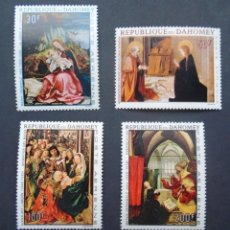 Sellos: DAHOMEY 1967 AEREO IVERT 67/70 *** PINTURA RELIGIOSA - CUADROS DE MAESTROS - ARTE. Lote 113909715