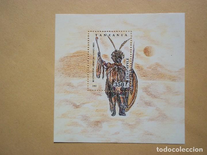 HOJA DE BLOQUE TANZANIA 1993 ARTE COSTUMES AFRICAN NUEVO CON GOMA (Sellos - Temáticas - Arte)