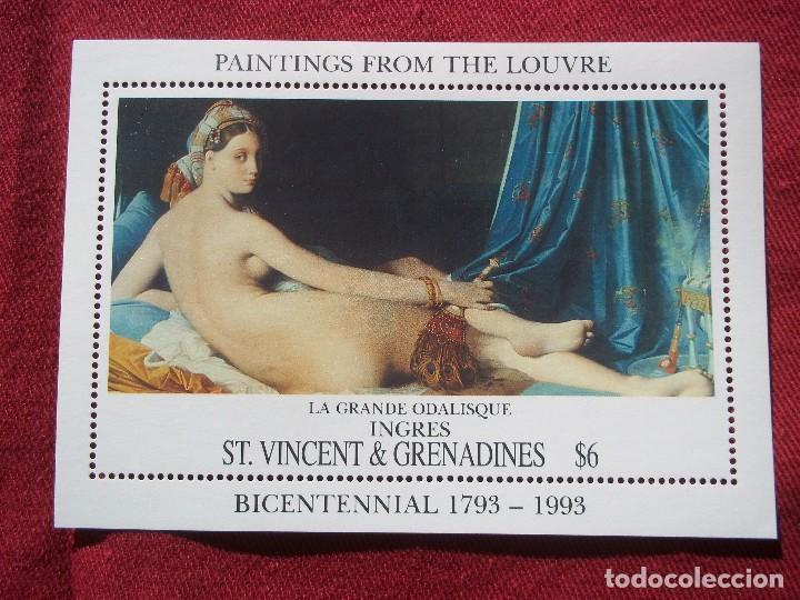 SAN VICENTE - 1993 - ARTE DESNUDOS HOJA DE BLOQUE NUEVOS CON GOMA (Sellos - Temáticas - Arte)