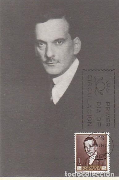 EDIFIL Nº 1661, ROMERO DE TORRES: RETRATO DEL PINTOR, TARJETA MAXIMA DE PRIMER DIA DE 24-3-1965 (Sellos - Temáticas - Arte)