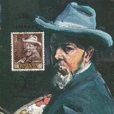 Sellos: EDIFIL 1570, SOROLLA: AUTORRETRATO, TARJETA MAXIMA DE PRIMER DE 24-3-1964. Lote 118387255