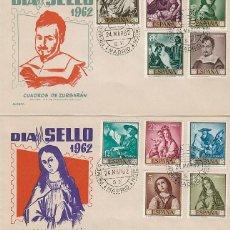Sellos: EDIFIL 1418/27, PINTORES: ZURBARAN, PRIMER DIA DE 24-3-1962 ALONSO. Lote 120557167
