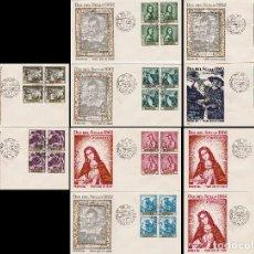 Sellos: EDIFIL 1418/27, PINTORES: ZURBARAN, PRIMER DIA DE 24-3-1962 10 SOBRES DE ALFIL CON BLOQUE DE 4. Lote 120557467