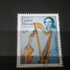 Timbres: SELLOS R. GUINEA BISSAU MATASELLADO. 1985. COMPOSITORES. MUSICA. INSTRUMENTOS. ARPA. VIOLIN.BELLINI. Lote 121079438