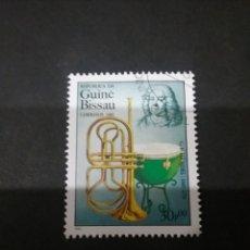 Timbres: SELLOS R. GUINEA BISSAU MATASELLADO. 1985. COMPOSITORES. MUSICA. INSTRUMENTOS. HANDEL. Lote 121079872