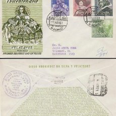 Sellos: EDIFIL 1340/3, 3º CENTENARIO DE VELAZQUEZ, PRIMER DIA 17-4-1961 SOBRE DE ALFIL CIRCULADO. Lote 121996967