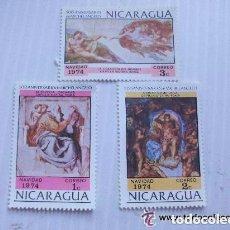 Sellos: LOTE DE 3 SELLOS DE NICARAGUA : NAVIDAD 1974 . 500 AÑOS DE MIGUEL ANGEL. NUEVOS SIN USAR.. Lote 122181343