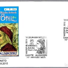 Sellos: MATASELLOS LITERATURA - DANTE ALIGHIERI. VASTO, ITALIA, 2015. Lote 125127619