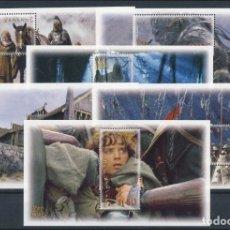 Sellos: SELLOS NUEVA ZELANDA 2002 LORD OF THE RINGS EL SEÑOR DE LOS ANILLOS 6 HOJAS CINE. Lote 137805950