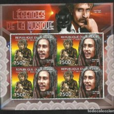 Sellos: BURUNDI 2012 HOJA BLOQUE SELLOS LEYENDAS DE LA MUSICA- BOB MARLEY. Lote 138628730