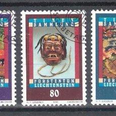 Sellos: LIECHTENSTEIN Nº 1002/1004º ARTE TIBETANO. SERIE COMPLETA. Lote 138864898