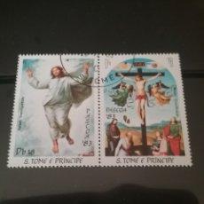Sellos: SELLOS S. TOME Y PRINCIPE MTDOS/1983/PASCUA/PINTURAS/ARTE/RELIGION/CONSTUMBRES/CRUZ/ANGEL. Lote 142971212
