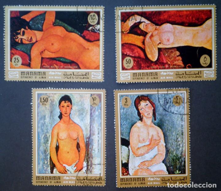 1971 MANAMA PINTURAS DE DESNUDOS DE MODIGLIANI (Sellos - Temáticas - Arte)