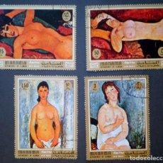 Sellos: 1971 MANAMA PINTURAS DE DESNUDOS DE MODIGLIANI. Lote 145821214
