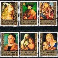 Sellos: RAS AL KHAIMA (EMIRATOS ARABES) Nº 621/5, DURERO, OBRAS, USADO (SERIE COMPLETA). Lote 146540490