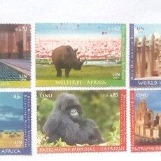 Sellos: NACIONES UNIDAS ONU ÁFRICA PATRIMONIO MUNDIAL DE LA HUMANIDAD SERIE COMPLETA DE 6 SELLOS NUEVOS. Lote 147769086