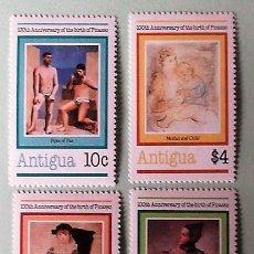 Sellos: ANTIGUA. 616/19 ANIVERSARIO NACIMIENTO PABLO PICASSO. 1981. SELLOS NUEVOS Y NUMERACIÓN YVERT.. Lote 147802360