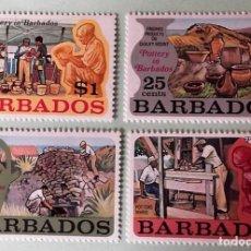 Sellos: BARBADOS. 357/60 CERÁMICA: TORNO, HORNO, PIEZAS DE CERÁMICA Y VENTA EN MERCADO. 1973. SELLOS NUEVOS. Lote 147802532