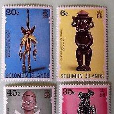 Sellos: ISLAS SALOMÓN. 328/31 ARTESANIA: ESCULTURAS HUMANAS. 1977. SELLOS NUEVOS Y NUMERACIÓN YVERT.. Lote 147802854